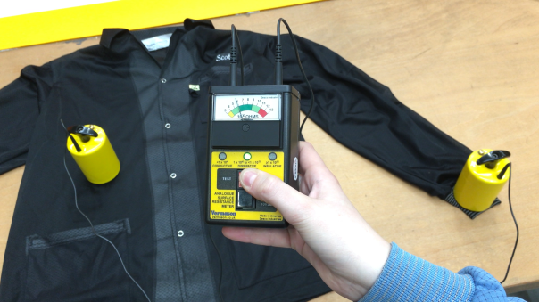 Testing panel-to-panel conductivity of your ESD lab coat