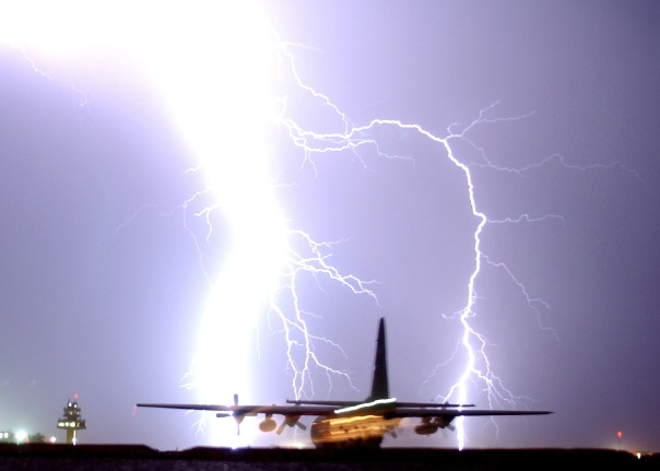 Lightning Striking an Airoplane